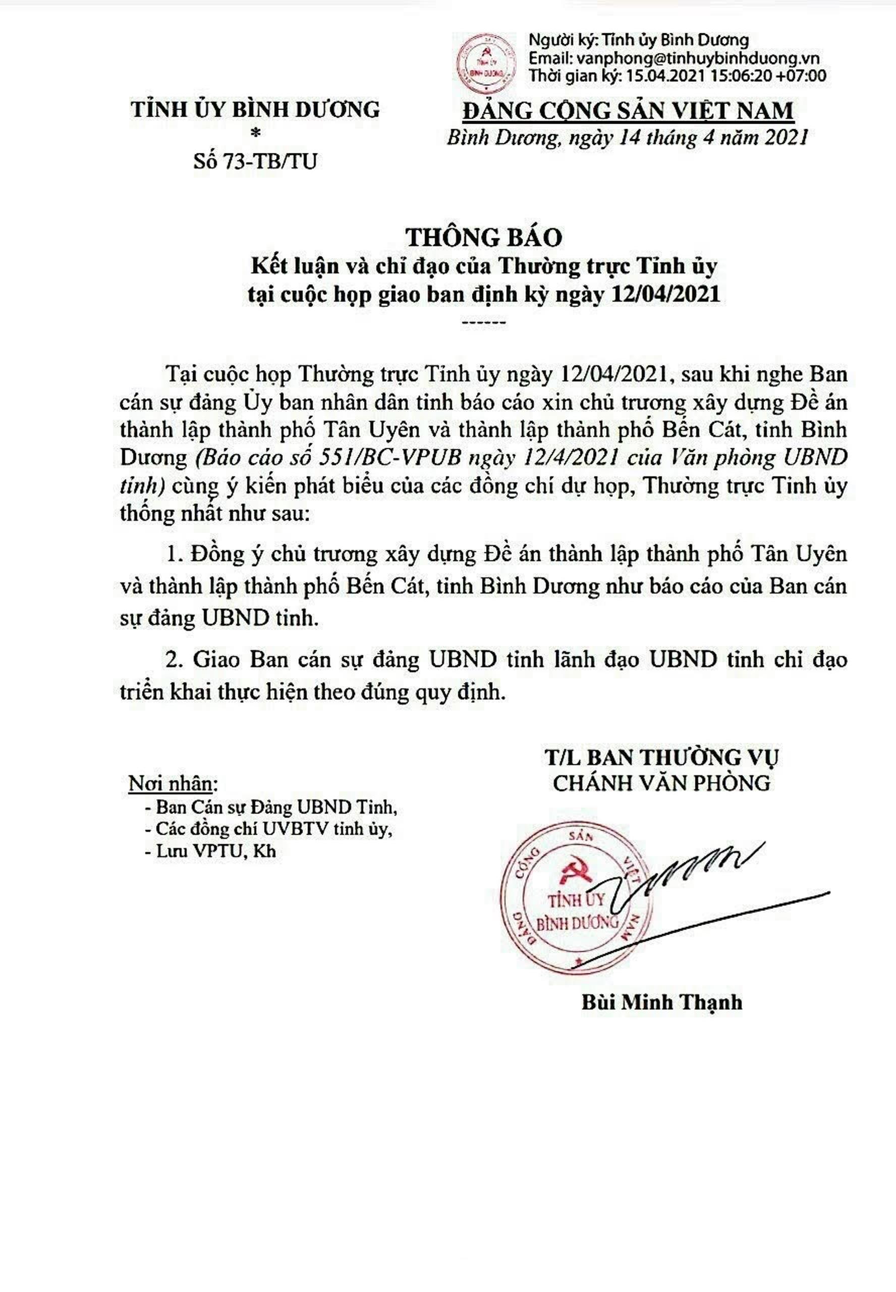 Quyết Định thành lập thành phố Tân Uyên
