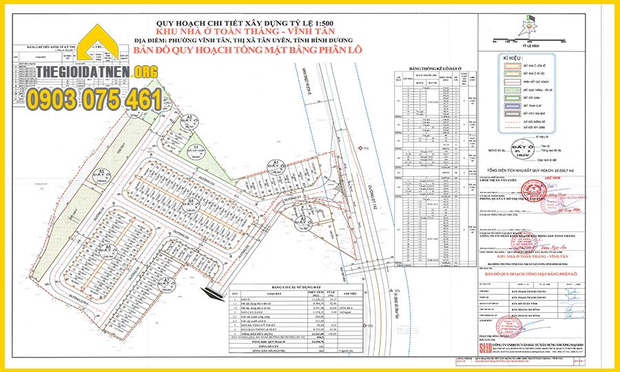 Bản đồ quy hoạch 1/500 của Khu nhà ở Toàn Thắng - INCO CITY